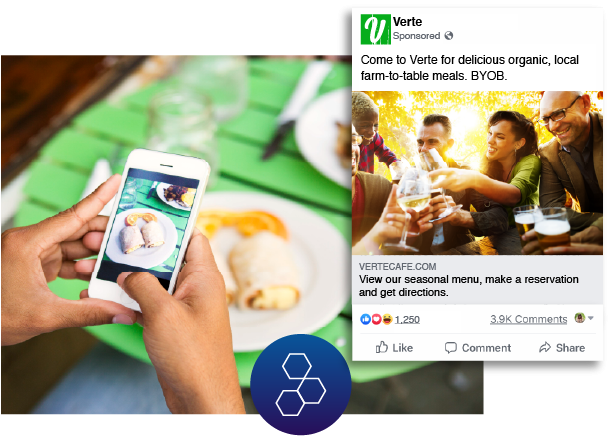 Person posting and online review of a restaurant they found through Hibu's Facebook advertising.