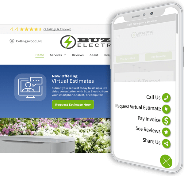 request virtual estimate ability on a Hibu Smart website, desktop and mobile view