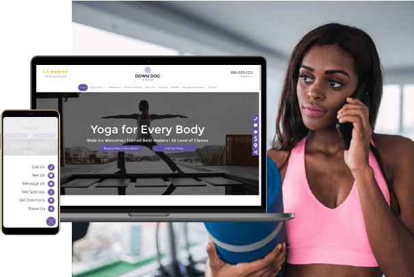 Yoga Website rendering over woman on phone holding yoga mat